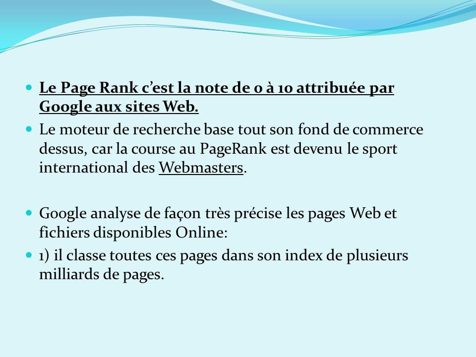 Le Page Rank cest la note de 0 à 10 attribuée par Google aux sites Web. Le moteur de recherche base tout son fond de commerce dessus, car la course au
