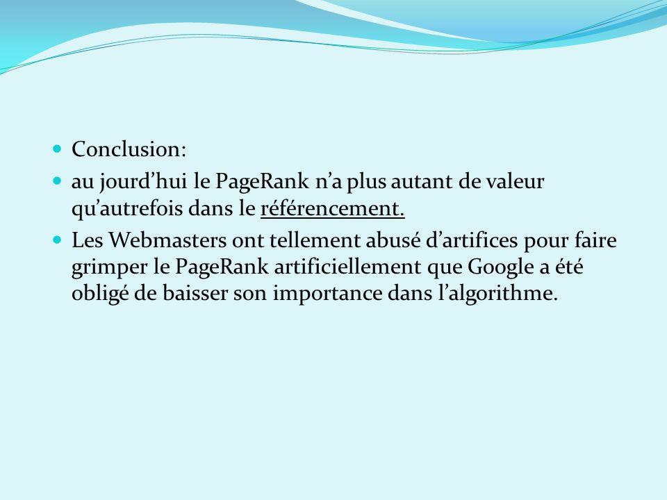 Conclusion: au jourdhui le PageRank na plus autant de valeur quautrefois dans le référencement. Les Webmasters ont tellement abusé dartifices pour fai