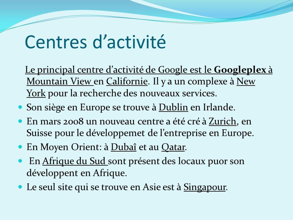 Centres dactivité Le principal centre dactivité de Google est le Googleplex à Mountain View en Californie. Il y a un complexe à New York pour la reche