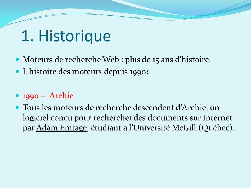 1. Historique Moteurs de recherche Web : plus de 15 ans d'histoire. L'histoire des moteurs depuis 1990: 1990 – Archie Tous les moteurs de recherche de