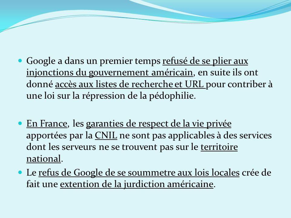 Google a dans un premier temps refusé de se plier aux injonctions du gouvernement américain, en suite ils ont donné accès aux listes de recherche et U