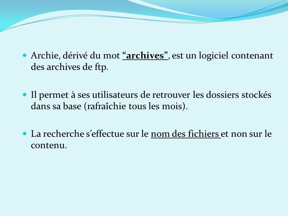 Archie, dérivé du mot archives, est un logiciel contenant des archives de ftp. Il permet à ses utilisateurs de retrouver les dossiers stockés dans sa