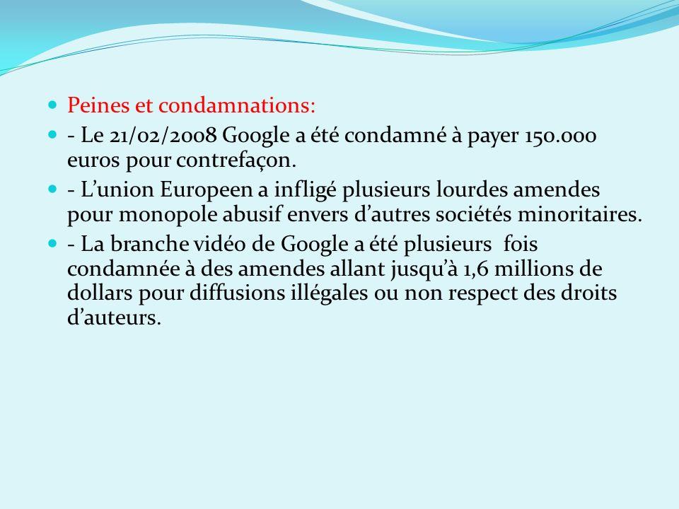 Peines et condamnations: - Le 21/02/2008 Google a été condamné à payer 150.000 euros pour contrefaçon. - Lunion Europeen a infligé plusieurs lourdes a