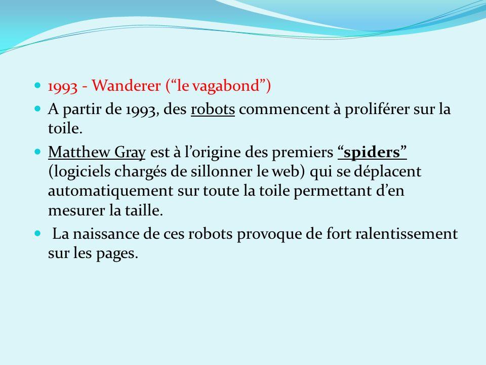 1993 - Wanderer (le vagabond) A partir de 1993, des robots commencent à proliférer sur la toile. Matthew Gray est à lorigine des premiers spiders (log