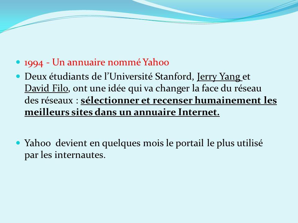 1994 - Un annuaire nommé Yahoo Deux étudiants de lUniversité Stanford, Jerry Yang et David Filo, ont une idée qui va changer la face du réseau des rés