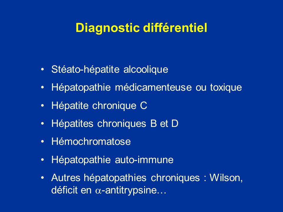 Stéato-hépatite alcoolique Hépatopathie médicamenteuse ou toxique Hépatite chronique C Hépatites chroniques B et D Hémochromatose Hépatopathie auto-im