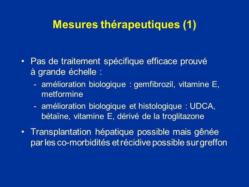 Pas de traitement spécifique efficace prouvé à grande échelle : -amélioration biologique : gemfibrozil, vitamine E, metformine -amélioration biologiqu