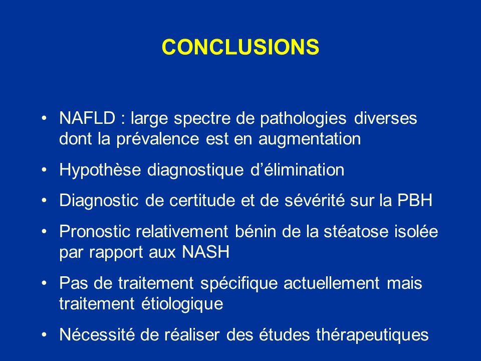 NAFLD : large spectre de pathologies diverses dont la prévalence est en augmentation Hypothèse diagnostique délimination Diagnostic de certitude et de