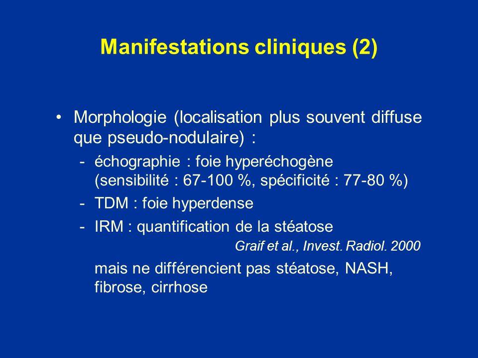 Morphologie (localisation plus souvent diffuse que pseudo-nodulaire) : -échographie : foie hyperéchogène (sensibilité : 67-100 %, spécificité : 77-80