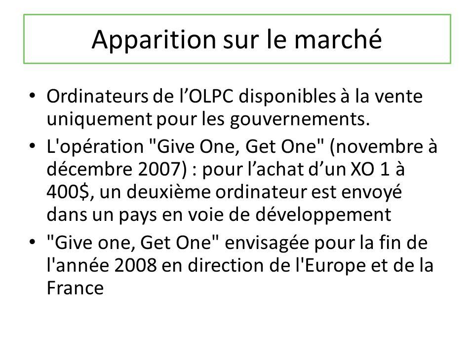 Apparition sur le marché Ordinateurs de lOLPC disponibles à la vente uniquement pour les gouvernements.