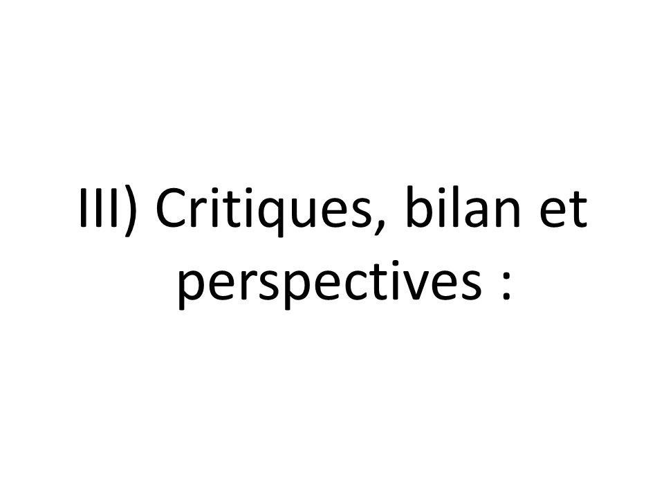 III) Critiques, bilan et perspectives :