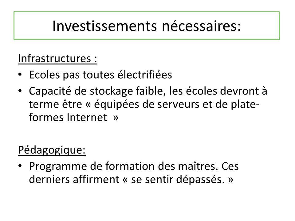 Investissements nécessaires: Infrastructures : Ecoles pas toutes électrifiées Capacité de stockage faible, les écoles devront à terme être « équipées de serveurs et de plate- formes Internet » Pédagogique: Programme de formation des maîtres.
