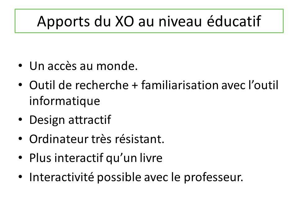 Apports du XO au niveau éducatif Un accès au monde.