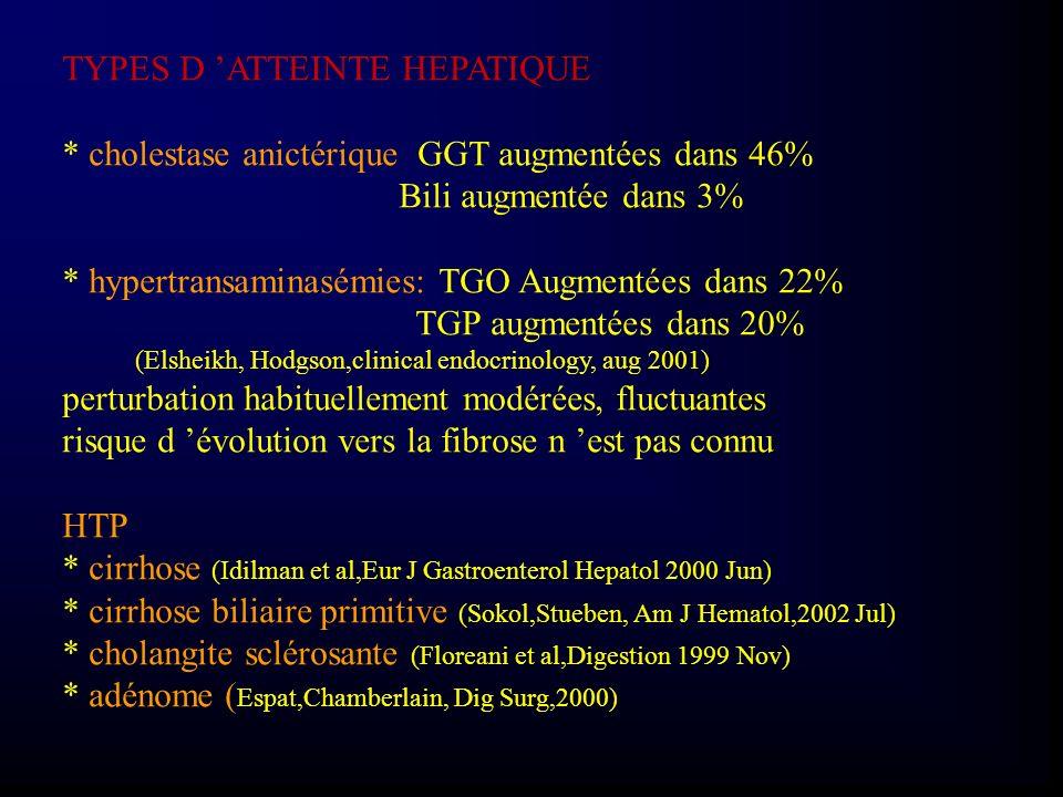 TYPES D ATTEINTE HEPATIQUE * cholestase anictérique GGT augmentées dans 46% Bili augmentée dans 3% * hypertransaminasémies: TGO Augmentées dans 22% TG