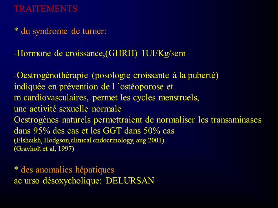 TRAITEMENTS * du syndrome de turner: -Hormone de croissance,(GHRH) 1UI/Kg/sem -Oestrogénothérapie (posologie croissante à la puberté) indiquée en prév