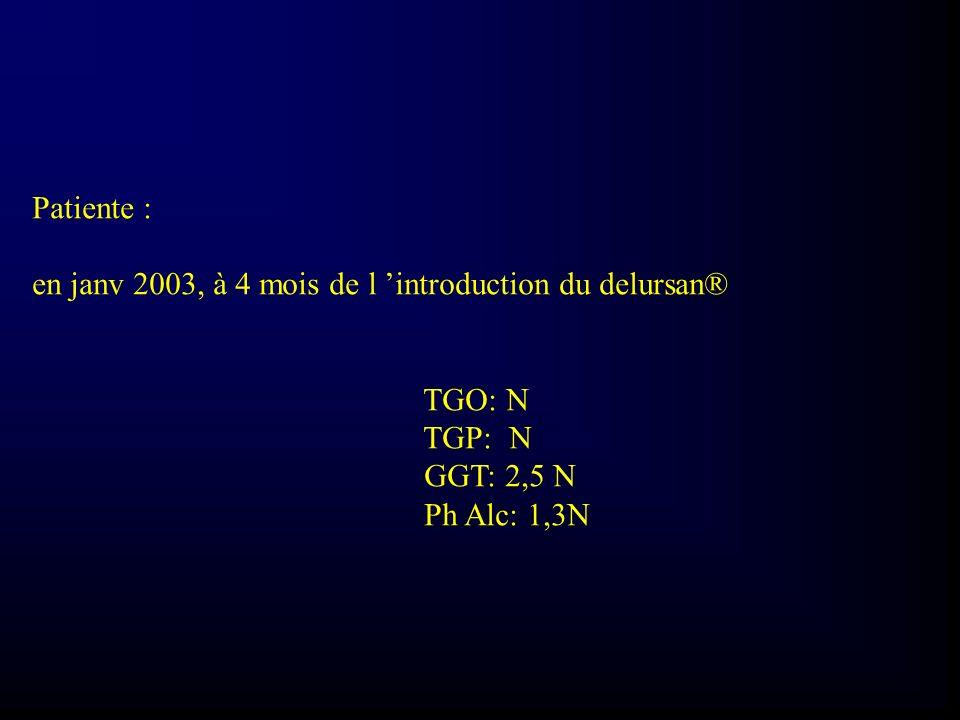 Patiente : en janv 2003, à 4 mois de l introduction du delursan® TGO: N TGP: N GGT: 2,5 N Ph Alc: 1,3N