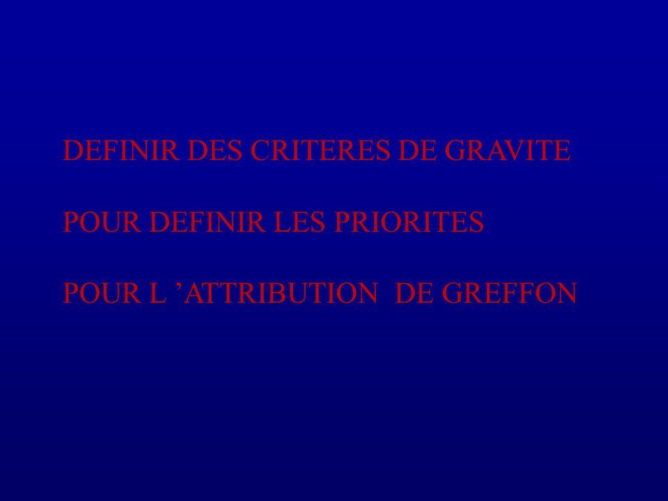 DEFINIR DES CRITERES DE GRAVITE POUR DEFINIR LES PRIORITES POUR L ATTRIBUTION DE GREFFON