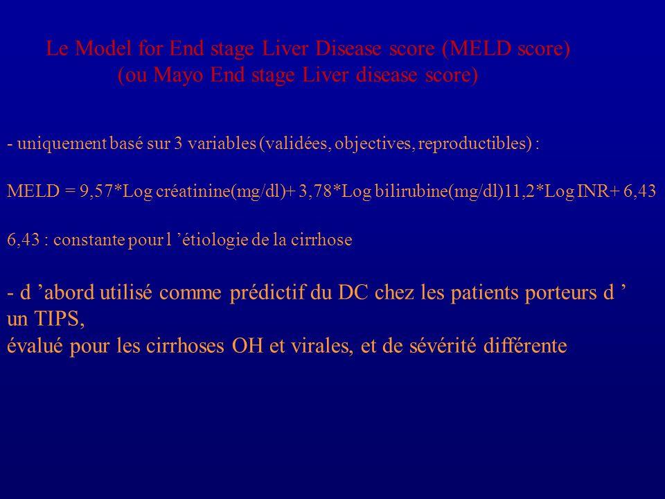Le Model for End stage Liver Disease score (MELD score) (ou Mayo End stage Liver disease score) - uniquement basé sur 3 variables (validées, objective