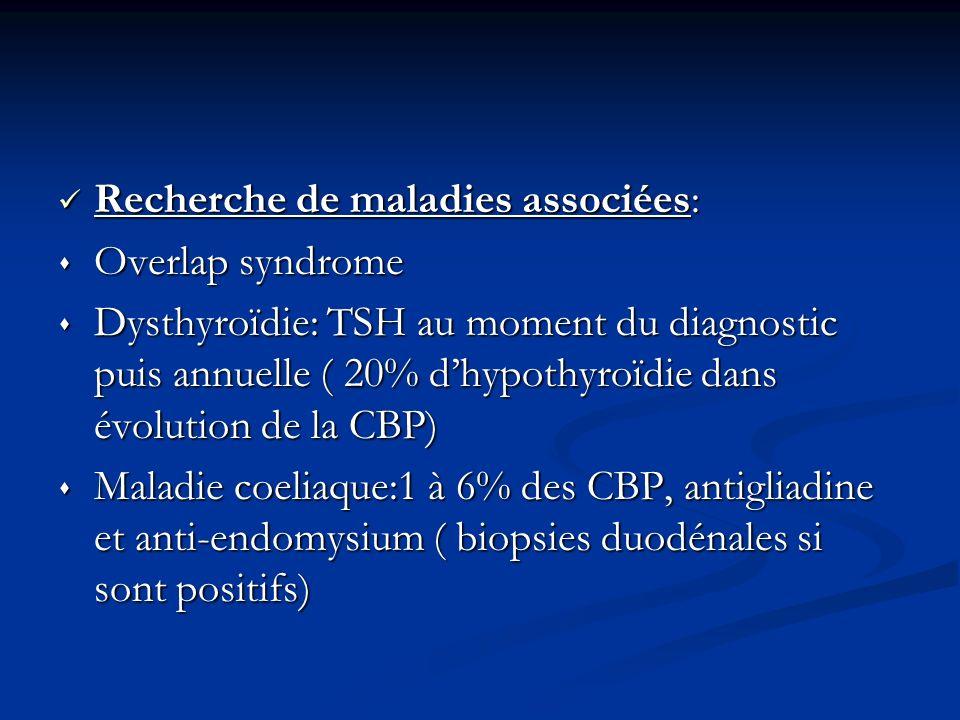Recherche de maladies associées: Recherche de maladies associées: Overlap syndrome Overlap syndrome Dysthyroïdie: TSH au moment du diagnostic puis ann