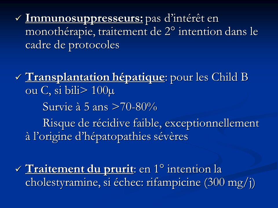 Immunosuppresseurs: pas dintérêt en monothérapie, traitement de 2° intention dans le cadre de protocoles Immunosuppresseurs: pas dintérêt en monothéra