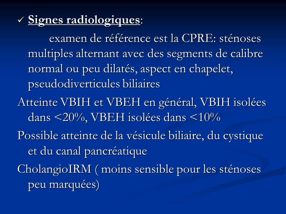Signes radiologiques: Signes radiologiques: examen de référence est la CPRE: sténoses multiples alternant avec des segments de calibre normal ou peu d
