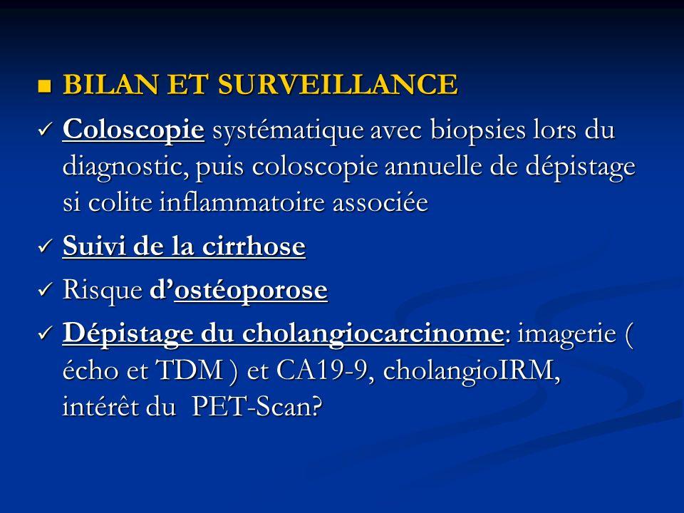 BILAN ET SURVEILLANCE BILAN ET SURVEILLANCE Coloscopie systématique avec biopsies lors du diagnostic, puis coloscopie annuelle de dépistage si colite