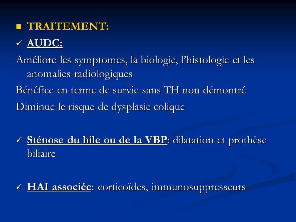 TRAITEMENT: TRAITEMENT: AUDC: AUDC: Améliore les symptomes, la biologie, lhistologie et les anomalies radiologiques Bénéfice en terme de survie sans T
