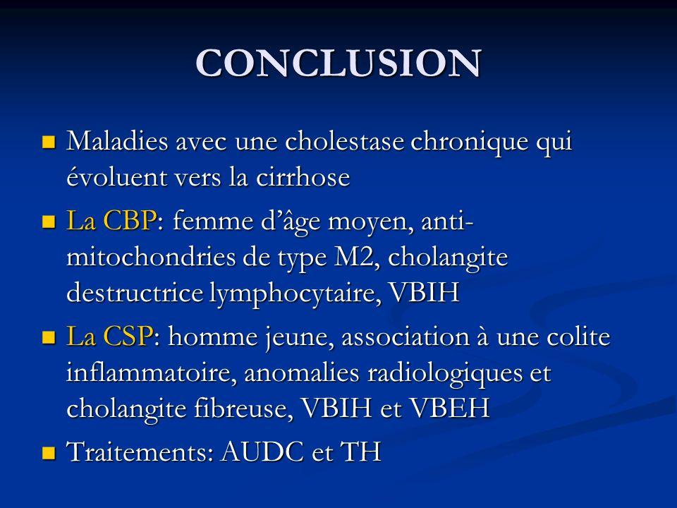 CONCLUSION Maladies avec une cholestase chronique qui évoluent vers la cirrhose Maladies avec une cholestase chronique qui évoluent vers la cirrhose L