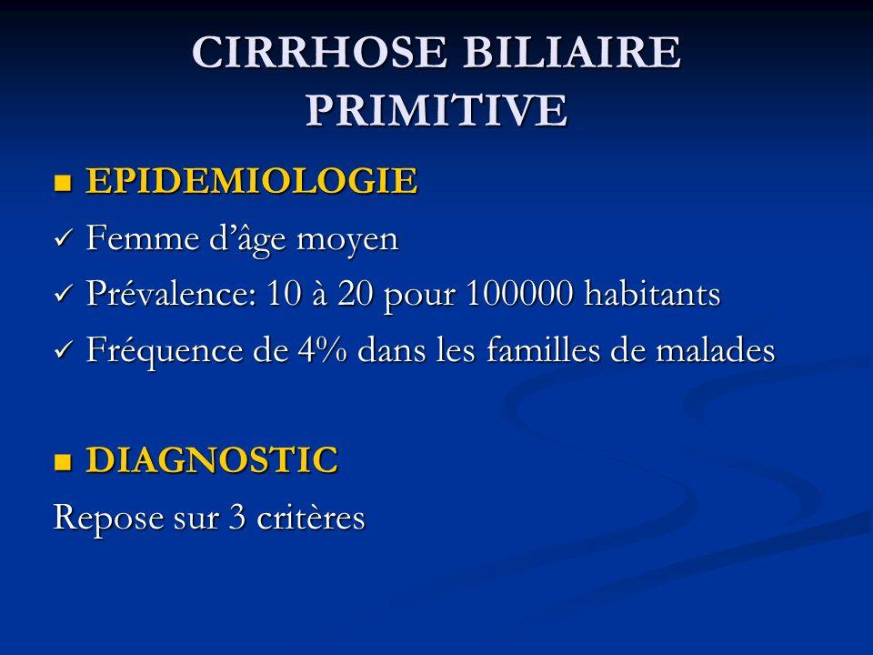 CIRRHOSE BILIAIRE PRIMITIVE EPIDEMIOLOGIE EPIDEMIOLOGIE Femme dâge moyen Femme dâge moyen Prévalence: 10 à 20 pour 100000 habitants Prévalence: 10 à 2