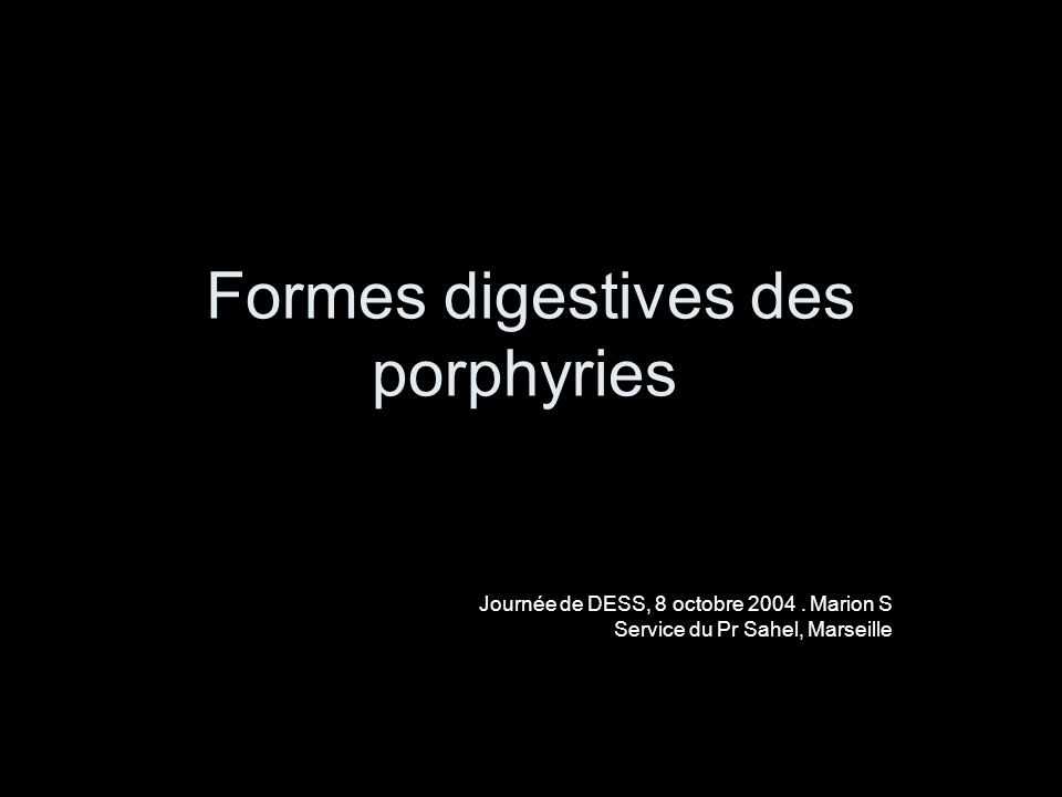 Introduction chroniquesAigues Érythrocytairehépatique porphyries