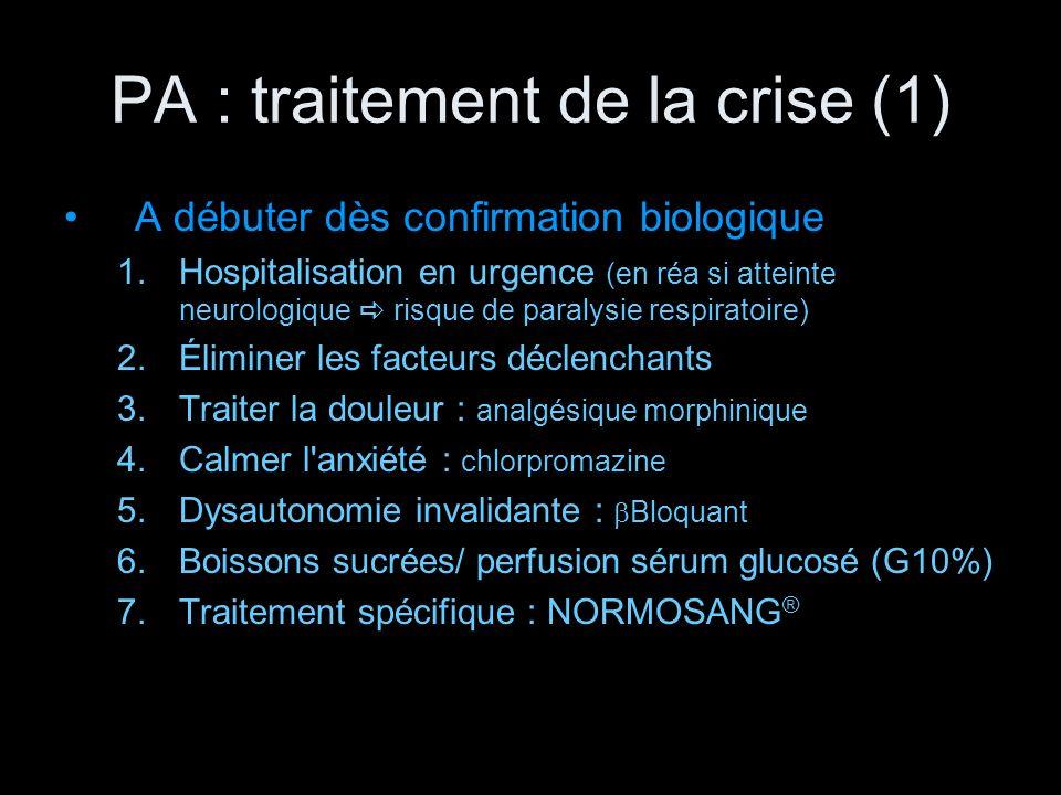 PA : traitement de la crise (1) A débuter dès confirmation biologique 1.Hospitalisation en urgence (en réa si atteinte neurologique risque de paralysi