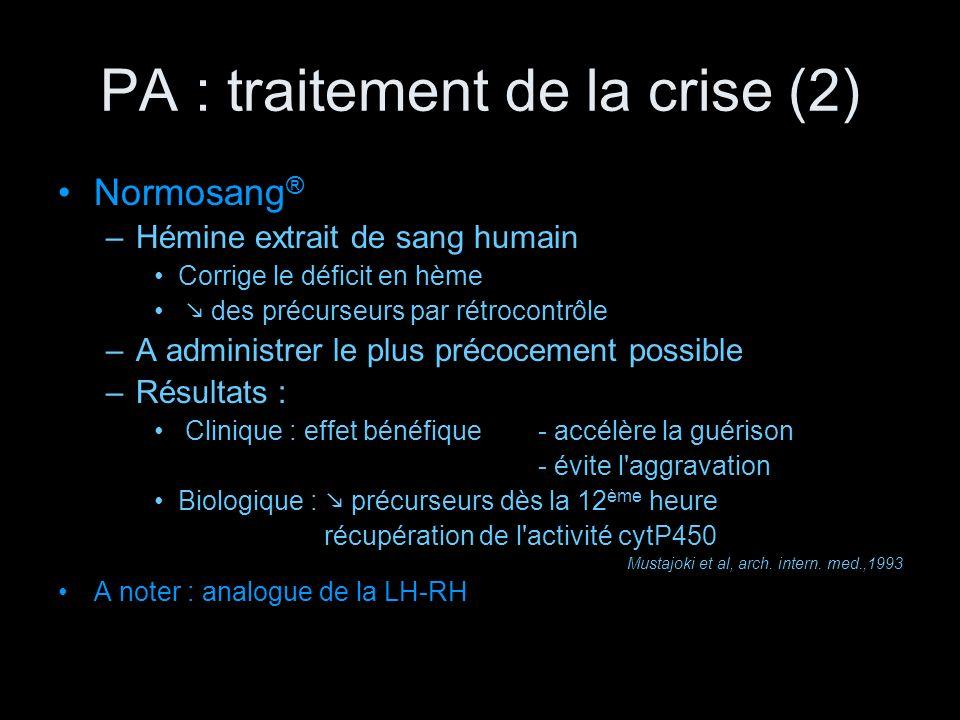 PA : traitement de la crise (2) Normosang ® –Hémine extrait de sang humain Corrige le déficit en hème des précurseurs par rétrocontrôle –A administrer
