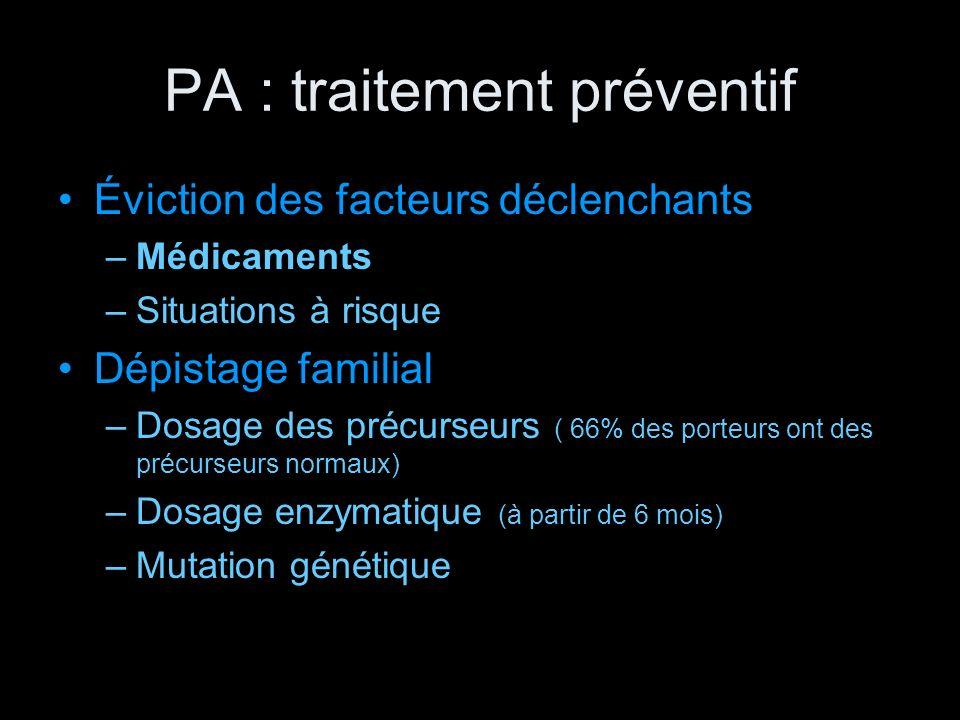 PA : traitement préventif Éviction des facteurs déclenchants –Médicaments –Situations à risque Dépistage familial –Dosage des précurseurs ( 66% des po
