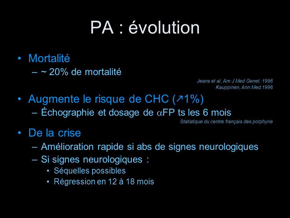 PA : évolution Mortalité –~ 20% de mortalité Jeans et al, Am J Med Genet, 1996 Kauppinen, Ann Med,1996 Augmente le risque de CHC ( 1%) –Échographie et