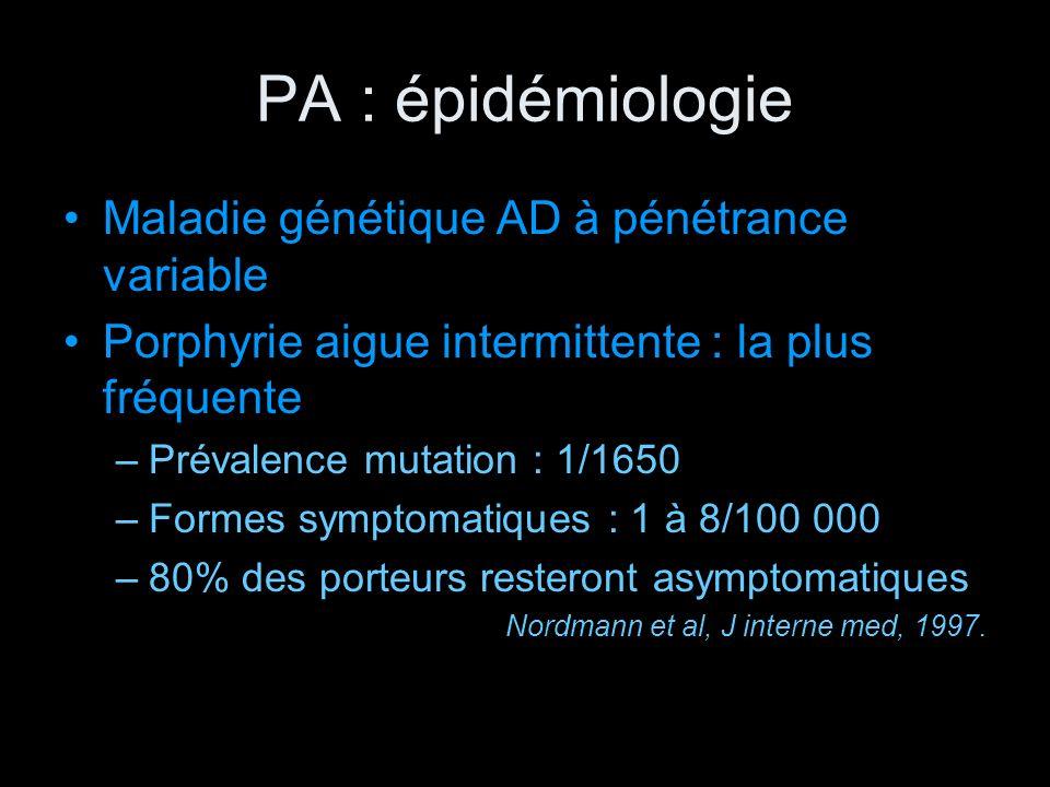 PA : épidémiologie Maladie génétique AD à pénétrance variable Porphyrie aigue intermittente : la plus fréquente –Prévalence mutation : 1/1650 –Formes