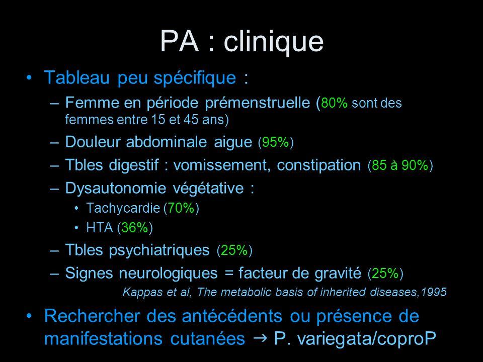 PA : clinique Tableau peu spécifique : –Femme en période prémenstruelle ( 80% sont des femmes entre 15 et 45 ans) –Douleur abdominale aigue (95%) –Tbl