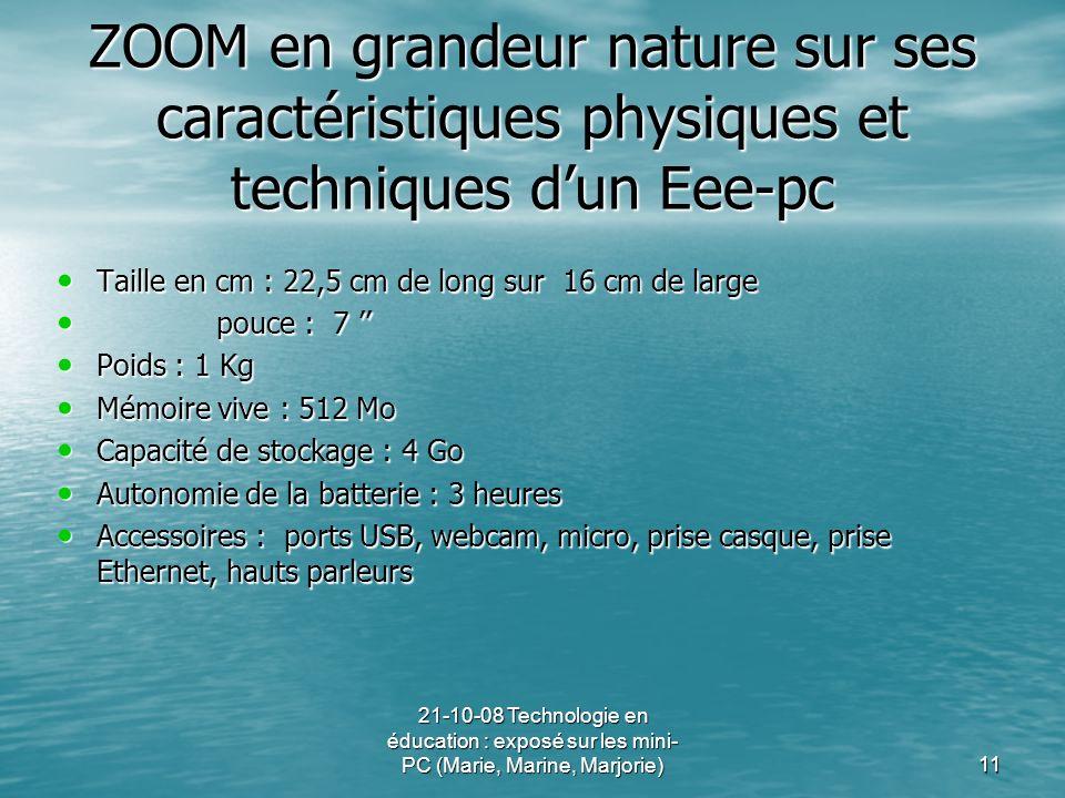21-10-08 Technologie en éducation : exposé sur les mini- PC (Marie, Marine, Marjorie)11 ZOOM en grandeur nature sur ses caractéristiques physiques et