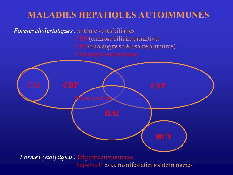 CBP CSP HAI HCV Overlap syndrome CAI MALADIES HEPATIQUES AUTOIMMUNES Formes cholestatiques : atteinte voies biliaires CBP (cirrhose biliaire primitive
