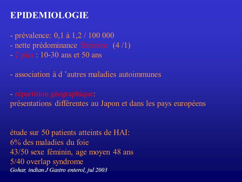 EPIDEMIOLOGIE - prévalence: 0,1 à 1,2 / 100 000 - nette prédominance féminine (4 /1) - 2 pics : 10-30 ans et 50 ans - association à d autres maladies