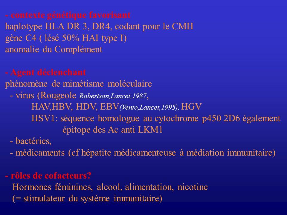 - contexte génétique favorisant haplotype HLA DR 3, DR4, codant pour le CMH gène C4 ( lésé 50% HAI type I) anomalie du Complément - Agent déclenchant