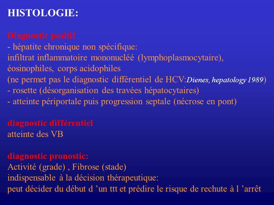 HISTOLOGIE: Diagnostic positif - hépatite chronique non spécifique: infiltrat inflammatoire mononucléé (lymphoplasmocytaire), éosinophiles, corps acid