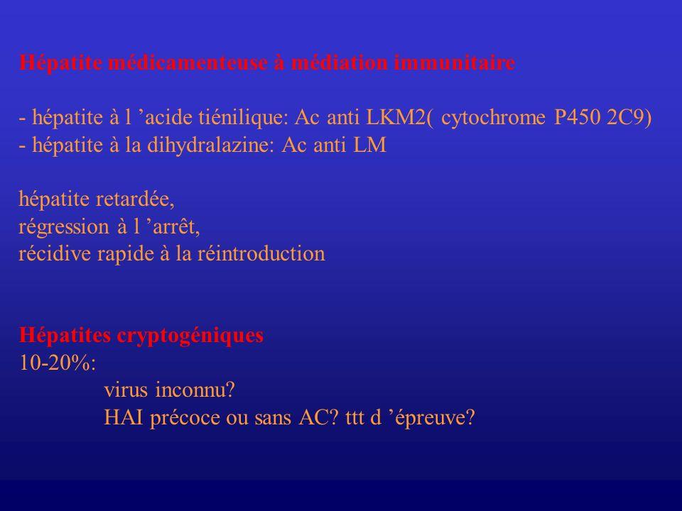 Hépatite médicamenteuse à médiation immunitaire - hépatite à l acide tiénilique: Ac anti LKM2( cytochrome P450 2C9) - hépatite à la dihydralazine: Ac