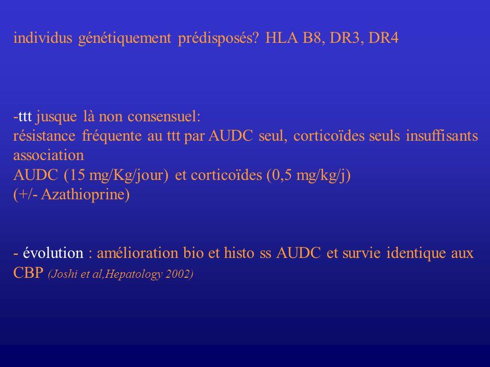 individus génétiquement prédisposés? HLA B8, DR3, DR4 -ttt jusque là non consensuel: résistance fréquente au ttt par AUDC seul, corticoïdes seuls insu