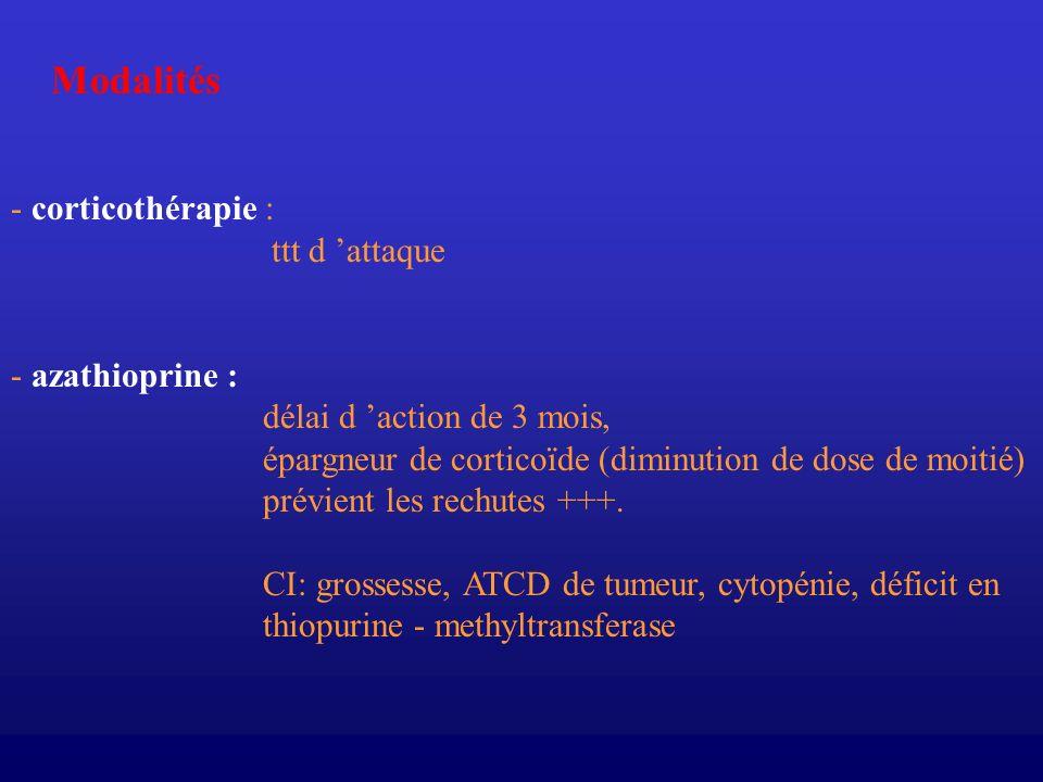 Modalités - corticothérapie : ttt d attaque - azathioprine : délai d action de 3 mois, épargneur de corticoïde (diminution de dose de moitié) prévient