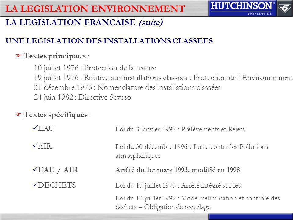 LA LEGISLATION ENVIRONNEMENT LA LEGISLATION FRANCAISE (suite) UNE LEGISLATION DES INSTALLATIONS CLASSEES Textes principaux : 10 juillet 1976 : Protect