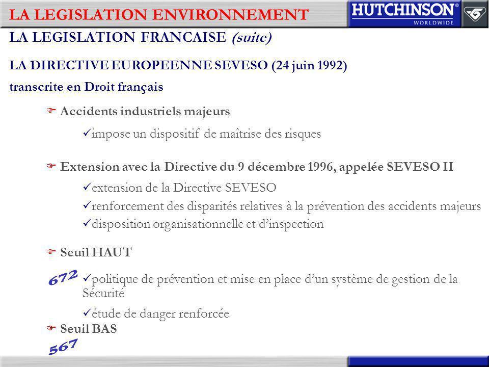 LA LEGISLATION ENVIRONNEMENT LA LEGISLATION FRANCAISE (suite) LA DIRECTIVE EUROPEENNE SEVESO (24 juin 1992) transcrite en Droit français impose un dis