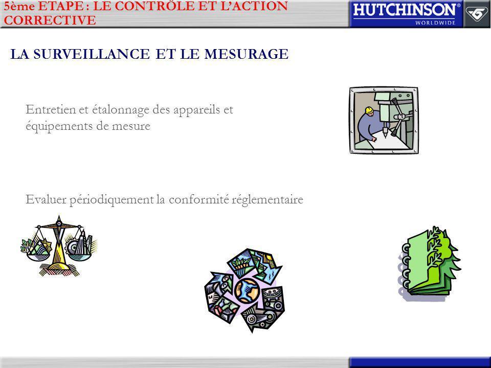 5ème ETAPE : LE CONTRÔLE ET LACTION CORRECTIVE LA SURVEILLANCE ET LE MESURAGE Entretien et étalonnage des appareils et équipements de mesure Evaluer p