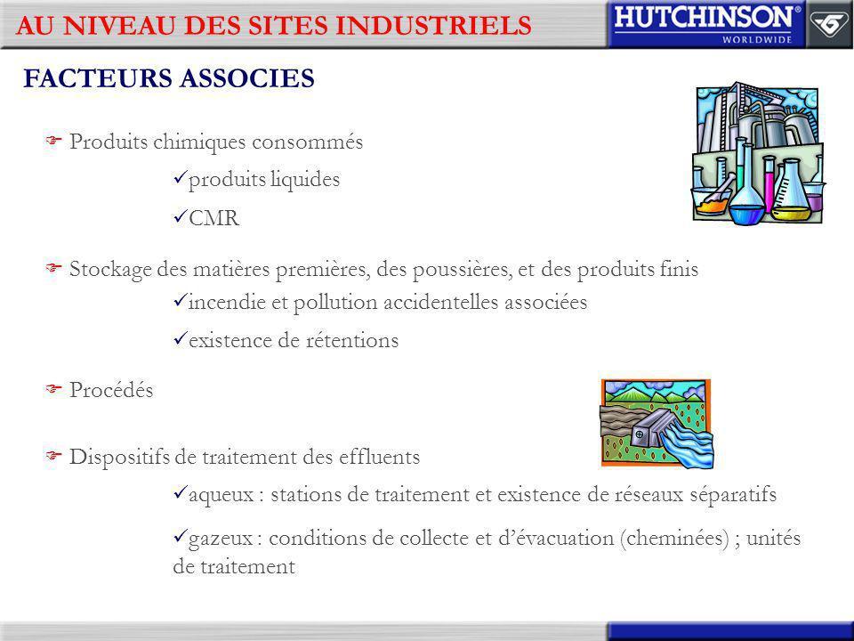 AU NIVEAU DES SITES INDUSTRIELS FACTEURS ASSOCIES Produits chimiques consommés produits liquides CMR Stockage des matières premières, des poussières,