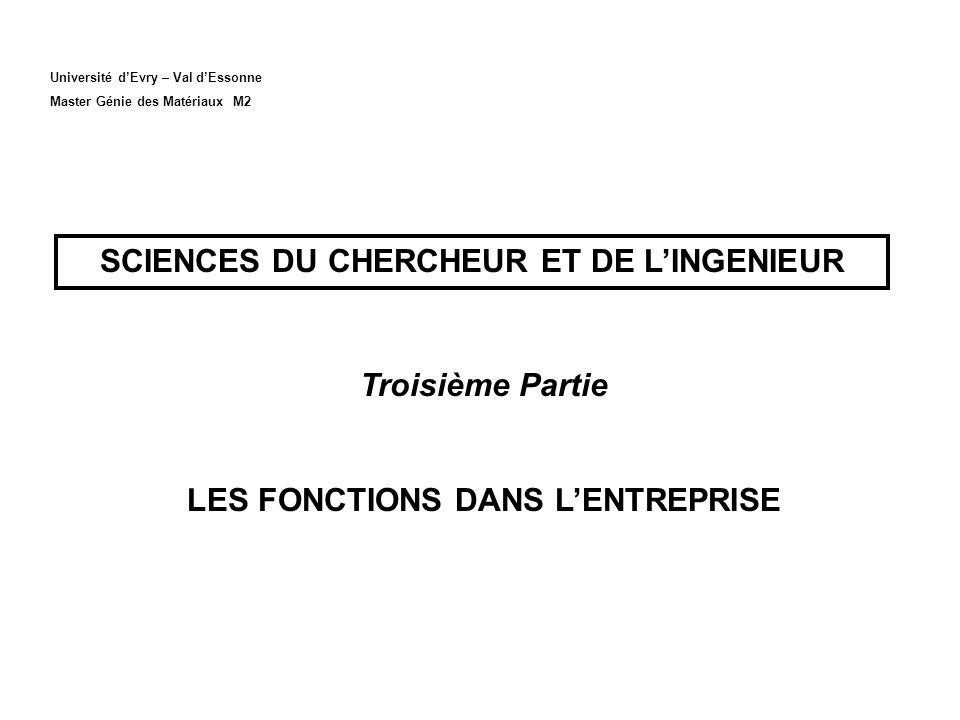 Université dEvry – Val dEssonne Master Génie des Matériaux M2 SCIENCES DU CHERCHEUR ET DE LINGENIEUR Troisième Partie LES FONCTIONS DANS LENTREPRISE