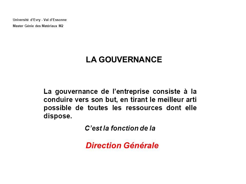 Université dEvry - Val dEssonne Master Génie des Matériaux M2 LA GOUVERNANCE Direction Générale La gouvernance de lentreprise consiste à la conduire v